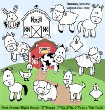 Farm Animals Digital Stamps, Farm Animals Clipart, Farm An