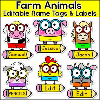 Farm Theme Labels and Name Tags