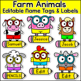Farm Theme Name Tags  - Editable Classroom Labels