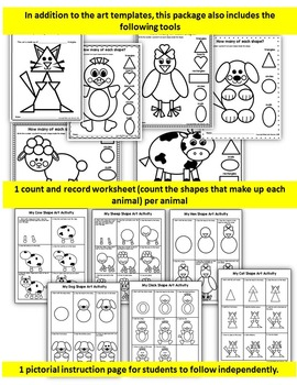 Farm GEOMETRY ART ACTIVITIES-  MATH RELATED FARM ANIMALS ACTIVITIES