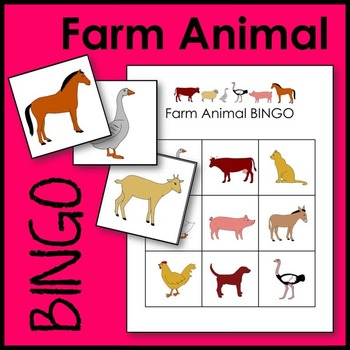 Farm Animal BINGO Game Math Center