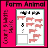 Farm Animal Count and Write Mat Math Center