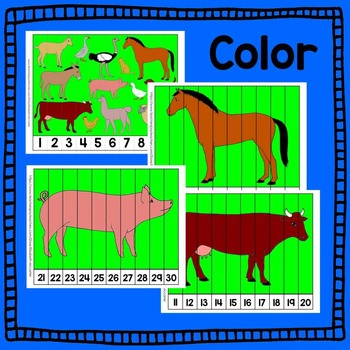 Farm Animal Number Puzzle Math Centers