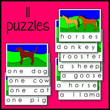 Farm Animal Spelling Puzzle Literacy Center