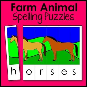 Farm Animal Spelling Puzzle Literacy Center