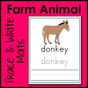 Farm Animal Trace and Write Handwriting Mat