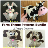 3 Farm Animals Felt Hand Sewing Patterns Bundle
