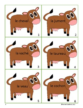 French Farm Animal Vocabulary - Hide and Speak Game