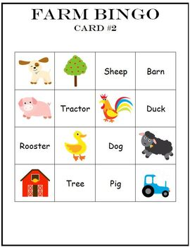 Farm Animals Game Set Bingo Memory Match
