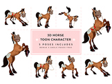 Farm Animals, Horse Toon Character Clipart