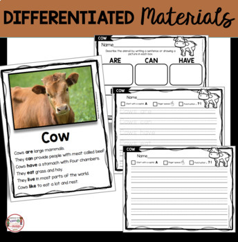 Farm Animals - Kindergarten and First Grade Animal Research Reports - Nonfiction