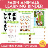 Farm Animals Learning Binder Preschool Worksheets Farm Cen