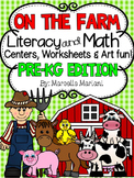 Farm Animals-Literacy and Math FUN- Centers & Printables (PRE-KG EDITION)