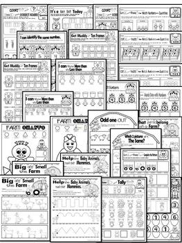 Farm Animals-Literacy and Math FUN- Centers & Printables (PRE-KG EDITION)