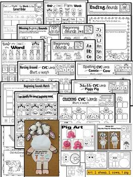 Farm Animals-Literacy and Math NO PREP Printables (75+ farm worksheets)