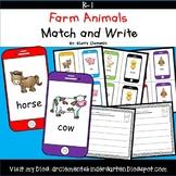 Farm Animals Match and Write