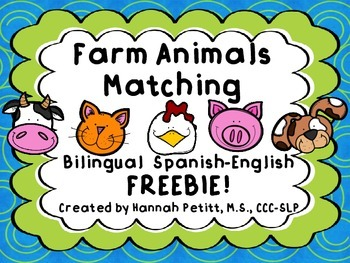 Farm Animals Matching: Bilingual Spanish-English FREEBIE!!!