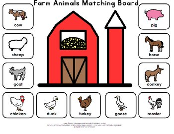 Farm Animals Matching Board by A. Kistler