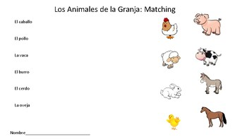 animals farm animals matching worksheet by spanish spectacular tpt. Black Bedroom Furniture Sets. Home Design Ideas