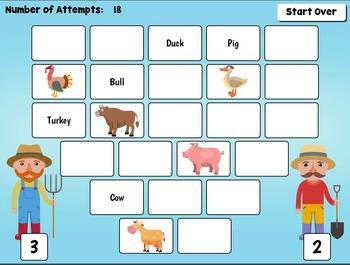 Digital Farm Animals Matching Game