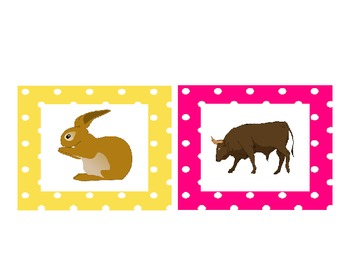 Farm Animals Names & Pictures Cards:
