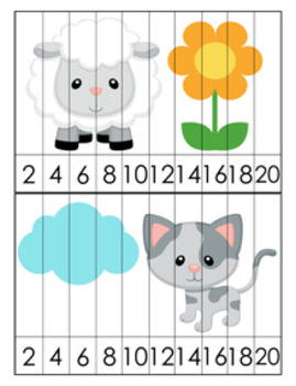 Farm Animals Number Counting Strip Puzzles - 8 Different Designs - Skip by 2