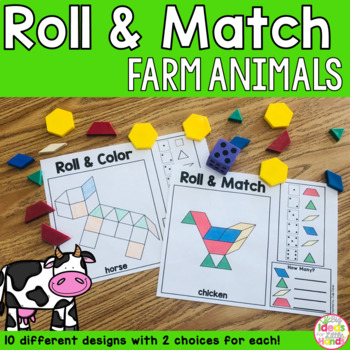 Farm Animals Pattern Blocks Mat Roll and Match Game