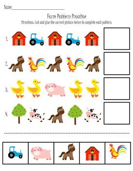 Farm Animals Patterns and Graphing Math Activity