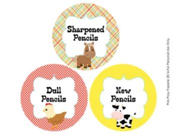Farm Animals Pencil Caddy Labels