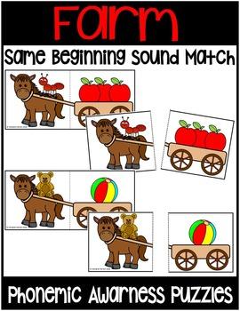 Farm Animals- Phonemic Awareness literacy puzzles- SAME BEGINNING SOUND MATCH
