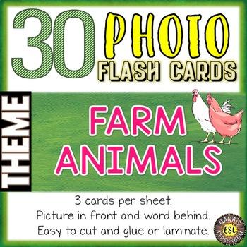 Farm Animals Photo Flash Cards