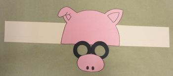 Farm Animals Pig Sentence Strip Hat Mask