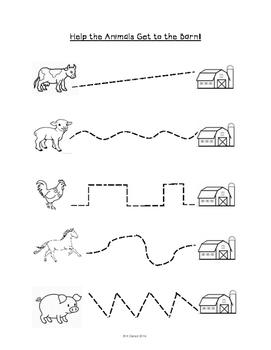 farm animals pre writing skills by miss geraci tpt. Black Bedroom Furniture Sets. Home Design Ideas