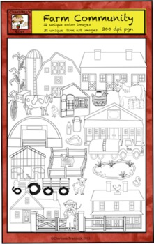 Farm Animals Clip Art with Produce and Buildings from Charlotte's Clips