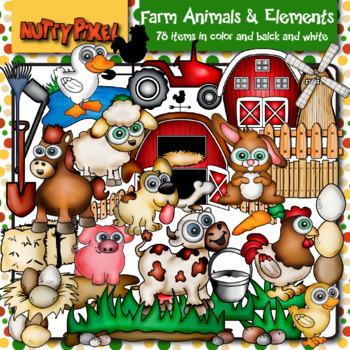 Farm Animals, Picture Puzzle Pairs Templates & Digital Papers - Clip Art
