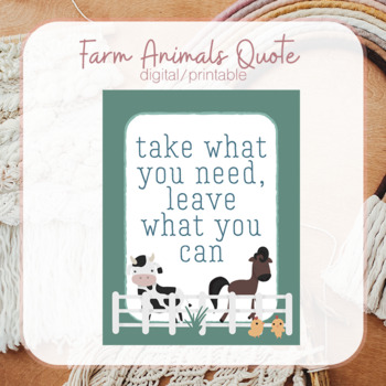 Farm Animals Quote Printable
