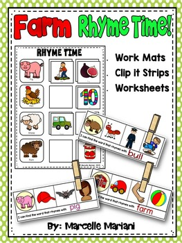 RHYMING ACTIVITIES-RHYMES LITERACY CENTRE  (Farm Animals theme)