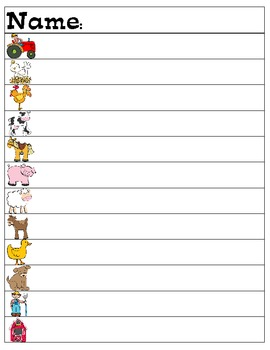 Farm Animals Read and Write the Room