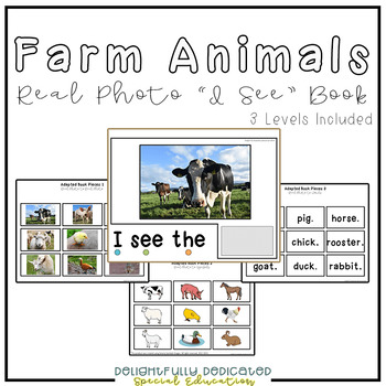 "Farm Animals Real Photo ""I See"" Book for Special Education Classrooms"