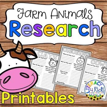 Farm Animals Research Templates for Grades 1-2