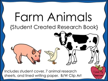 Farm Animals Research and Writing Journal {Student Created}
