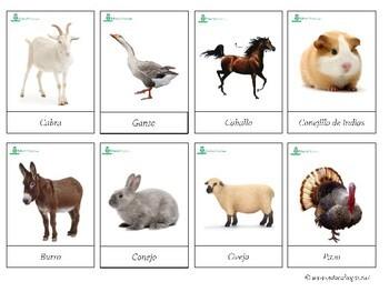 Farm Animals *SPANISH* - Montessori 3-part-cards