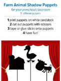 Farm Animals Shadow Puppets, preschool music and movement activity