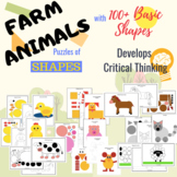 Farm Animals NO PREP Craft Activity - Shape Puzzles (Homes