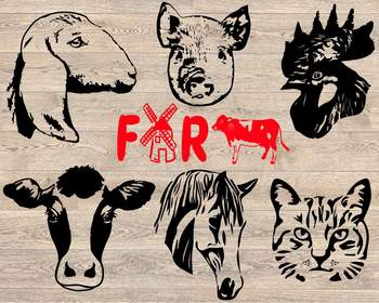 Farm Animals Silhouette SVG cut layer cow horse cat goat pig rooster 857S