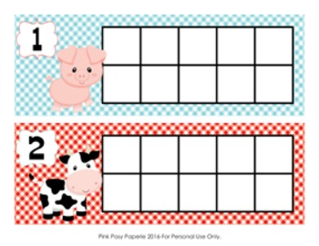 Farm Animals Ten Frame Cards