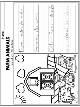 Farm Animals Theme Based Handwriting Lessons (Manuscript Edition)