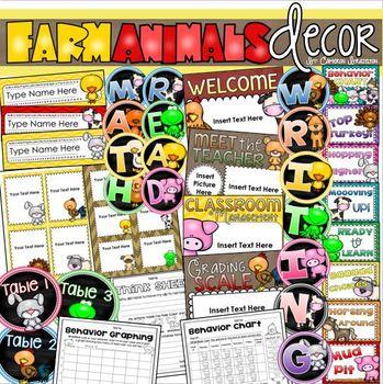 Farm Animals Theme Class Decor Bundle (Behavior Chart, Name Plates, Signs)