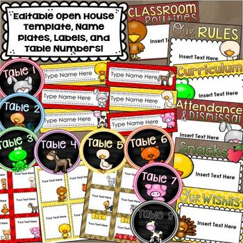 Farm Animals Theme Class Decor Bundle (Behavior Chart, Name Plates, Signs)