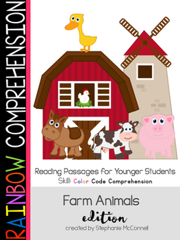 Farm Animals Theme Rainbow Comprehension for Young Students